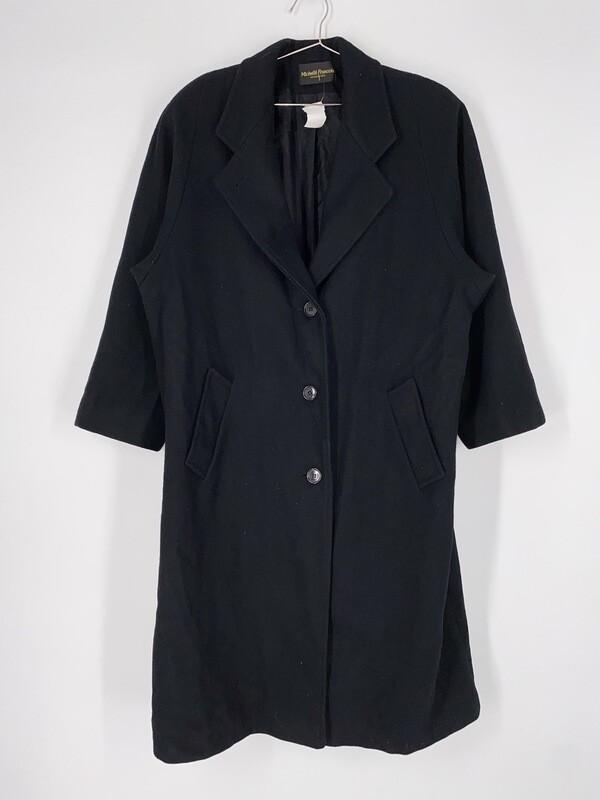 Michellé Francois Long Black Wool Heavy Jacket Size L