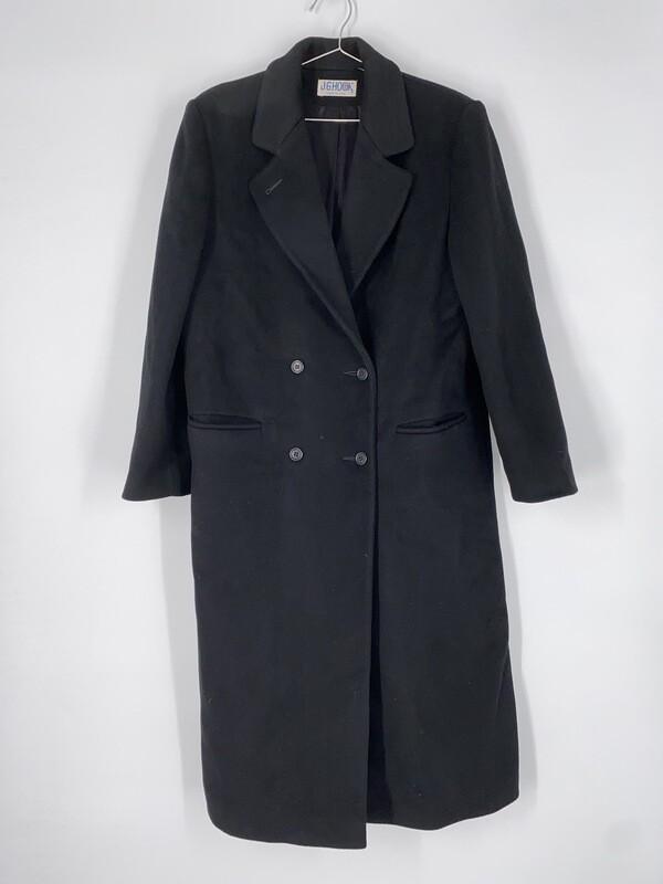 J.G.Hook Long Black Wool Heavy Jacket Size M