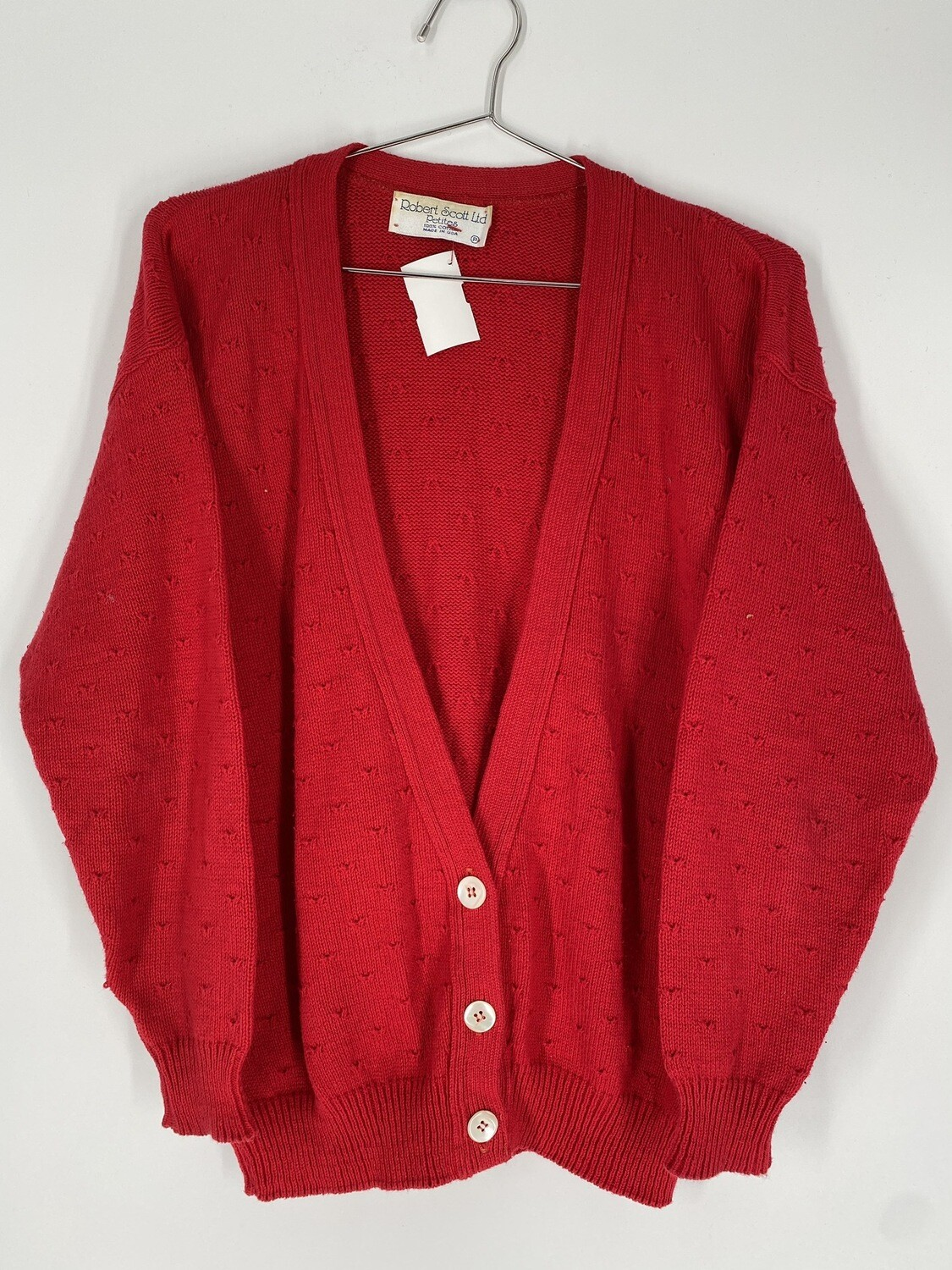 Red Cotton Cardigan Size S
