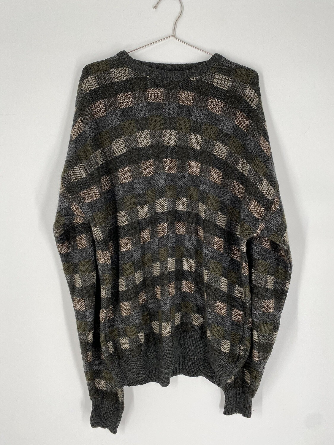 Checkered Green Sweater Size L