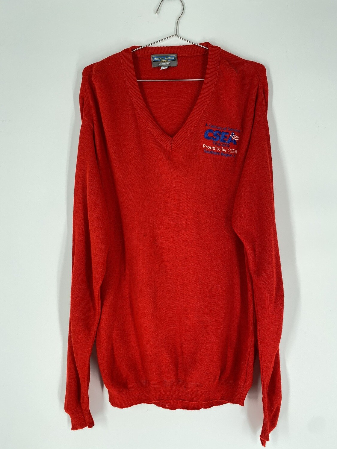 Red Embroidered Sweater Size L