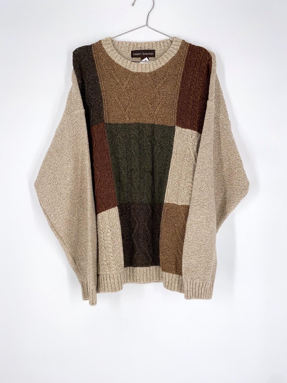 Tonal Color Block Sweater Size L