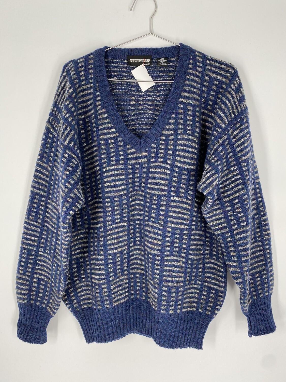 Blue Patterned Wool Sweater Size M