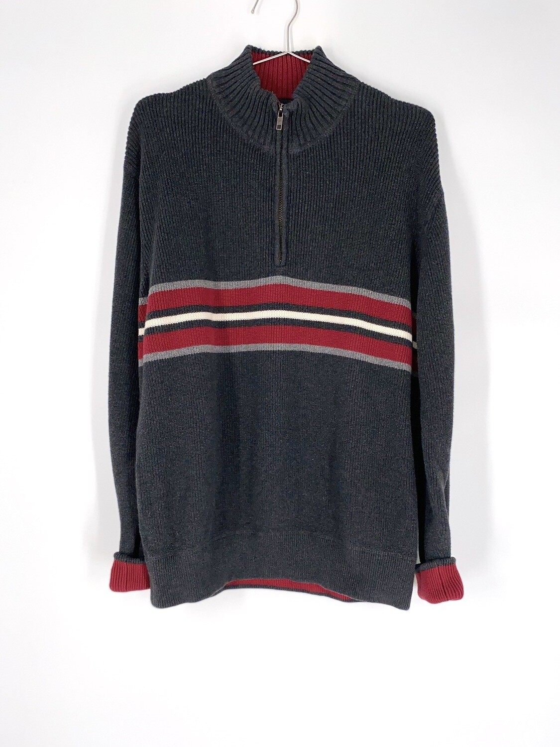 Quarter Zip Grey And Red Sweater Size L