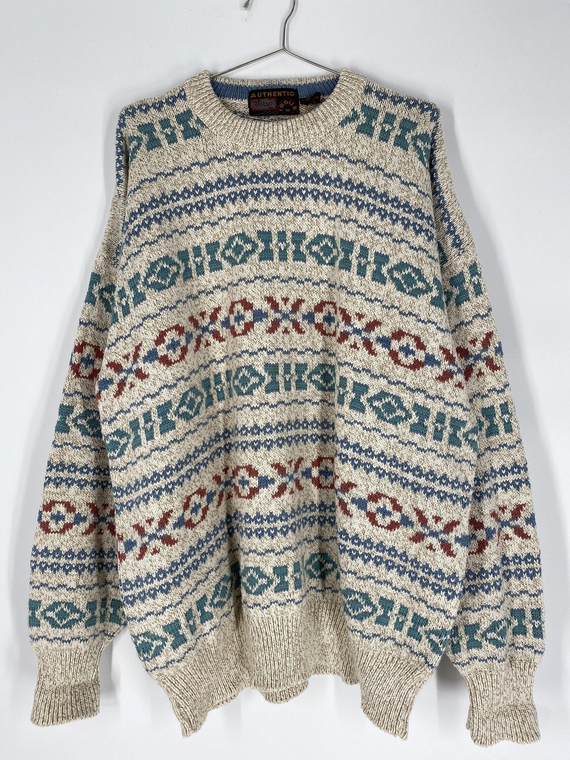 Patterned Cotton Sweater Size L