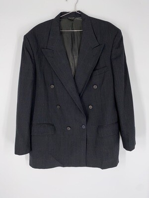 Bill Blass Menswear Dark Grey Plaid Print Blazer Size L