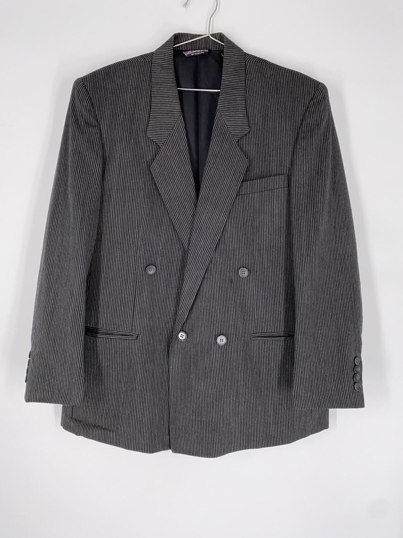 Raffinati Black and Grey Pinstripe Blazer Size L