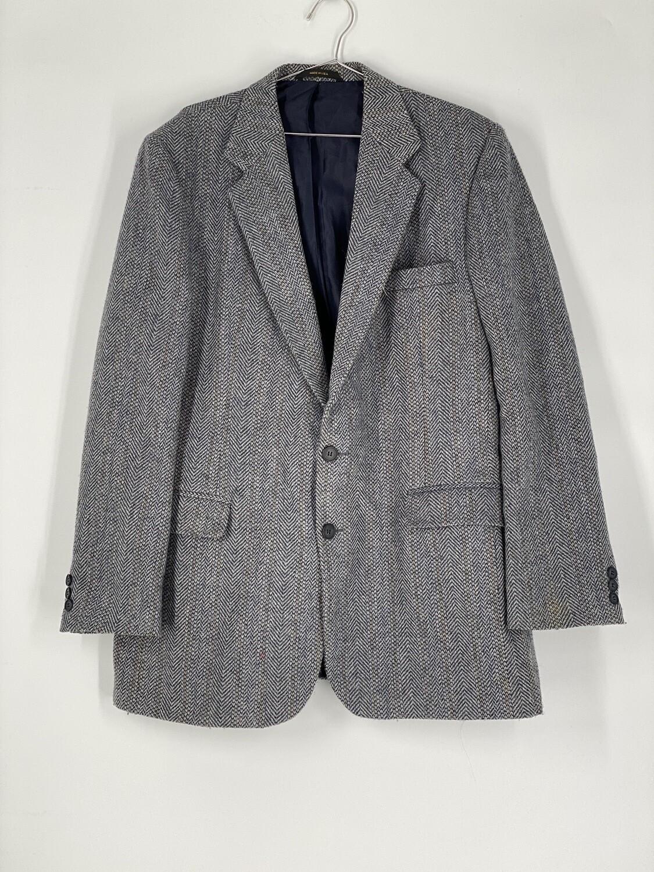 Haggar Light Grey Chevron Wool Blazer Size L