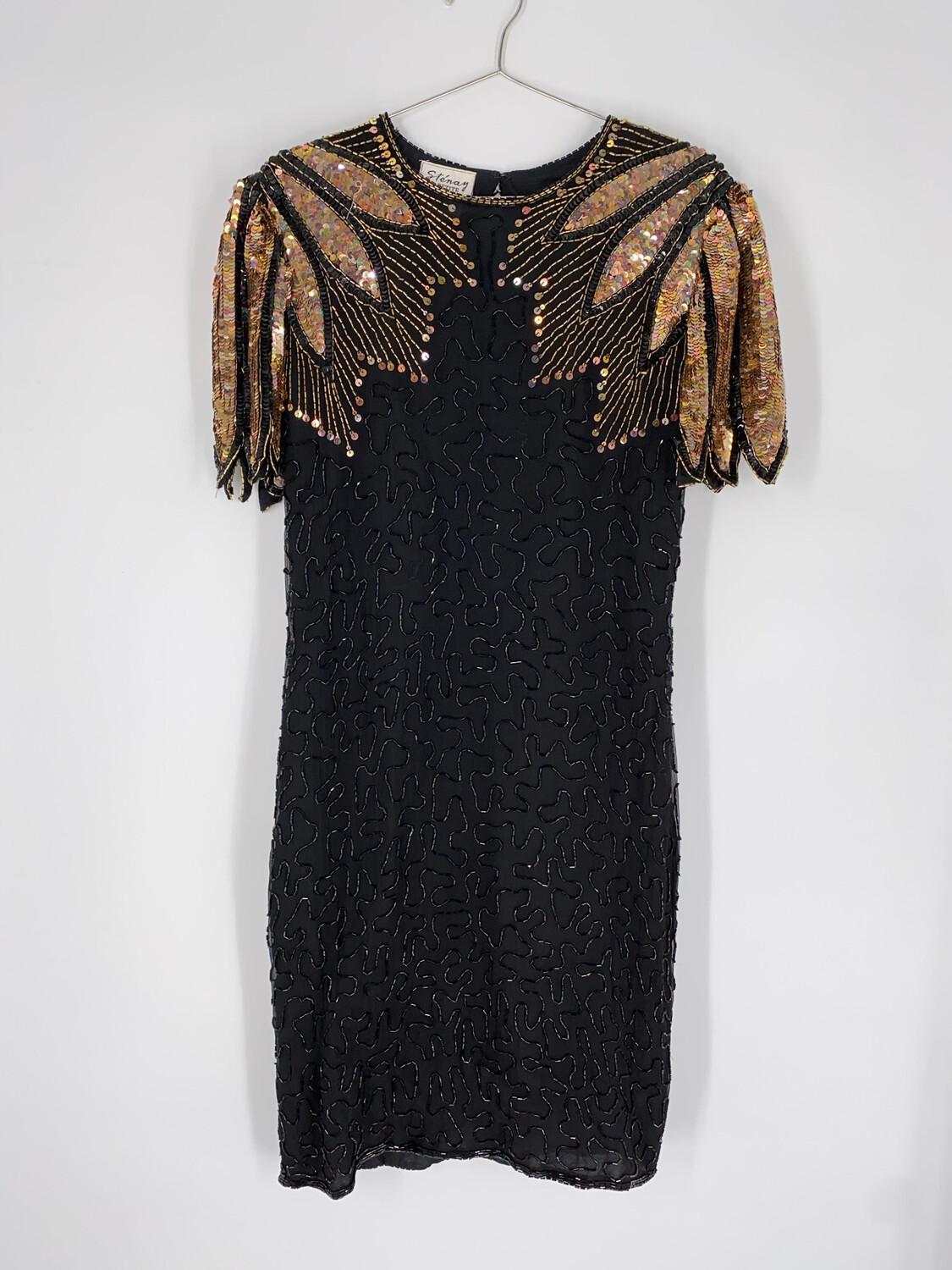 Stenay Petite Black & Gold Dress Size M