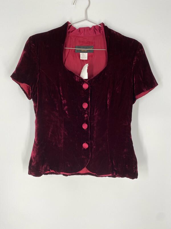 Donna Ricco Red Velvet Button Up Blouse Size L