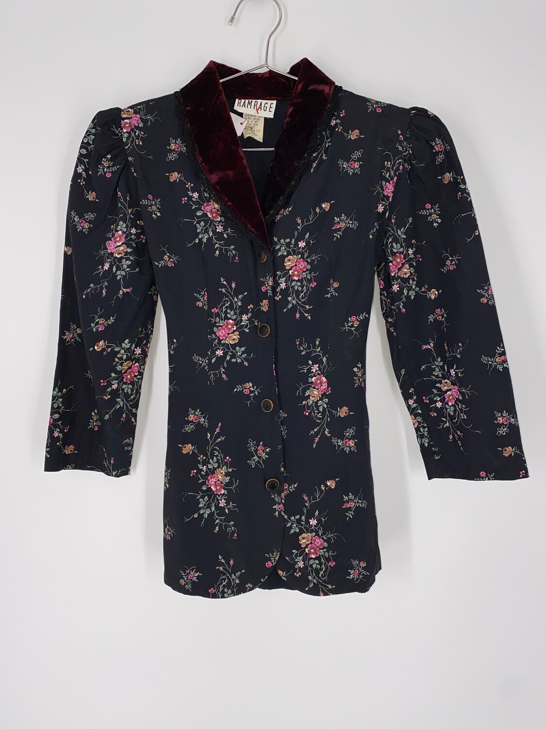 Rampage Vintage Floral And Velvet Button Up Blouse Size S