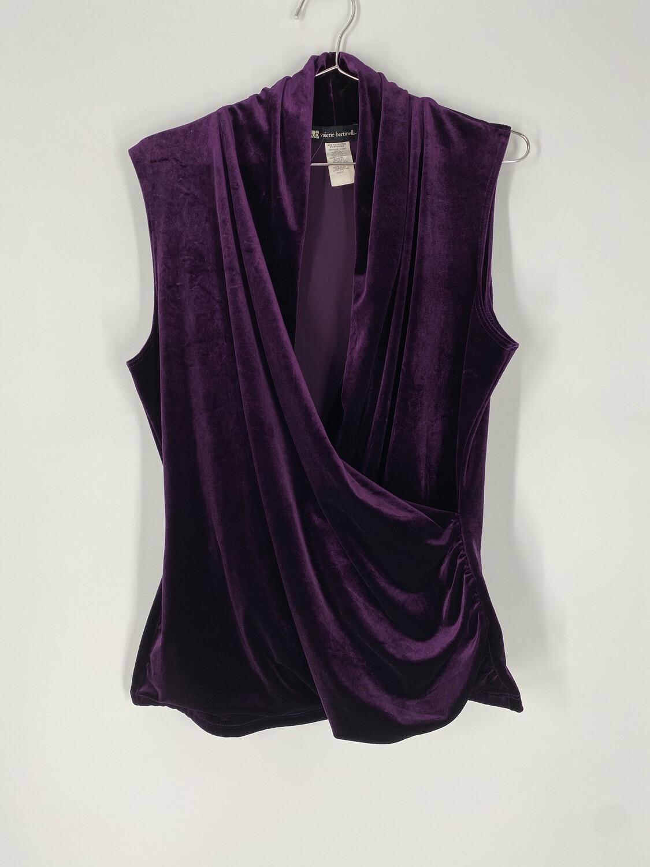 Valerie Bertinelli Deep Purple Velvet Wrap Top Size L