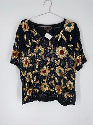 Joseph Le Bon Floral Sequin Blouse Size M