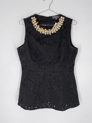 Gracia Black Lace Peplum Top With Beaded Neckline Size M