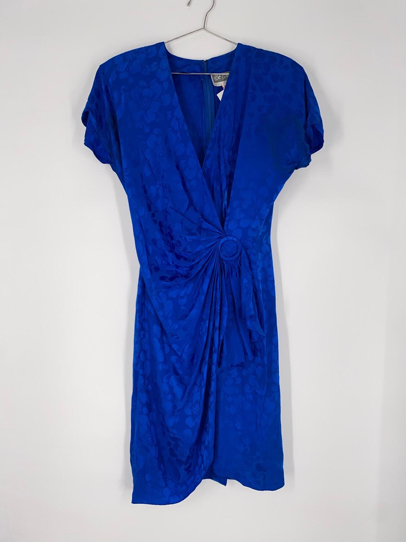 Pat Argent Collection Blue Floral Silk Dress Size S