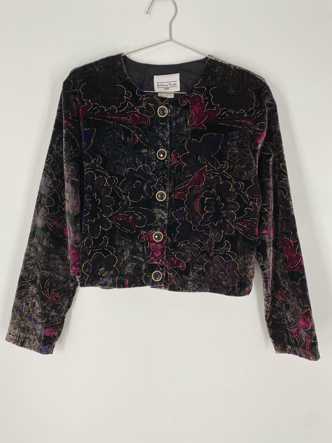 Brittany Nicole Velvet Floral Jewel Button Up Blouse Size M