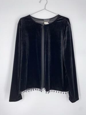 Msk Evening Black Velvet Cardigan With Beaded Trip Size L