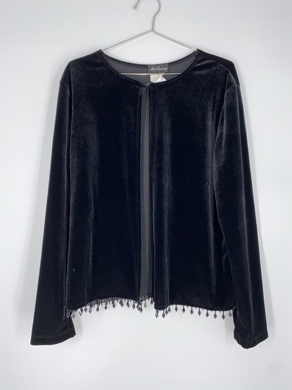 Msk Evening Black Velvet Cardigan With Beaded Trip Size L