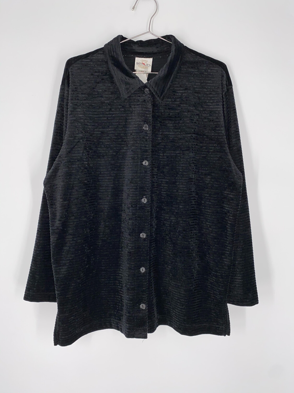 Bentley Black Velvet Striped Button Up Size M