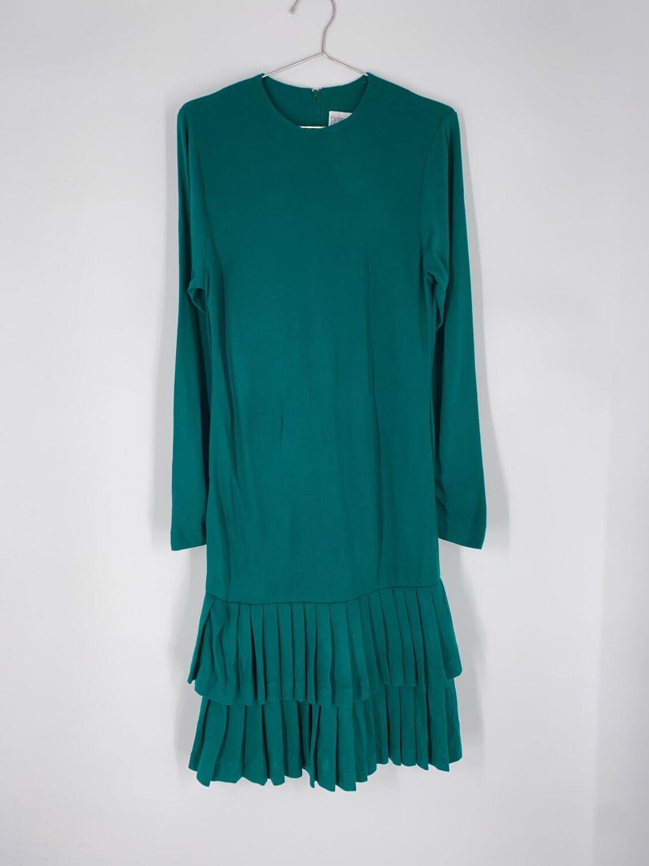Jessica Howard Green Drop Waist Pleated Dress Size S