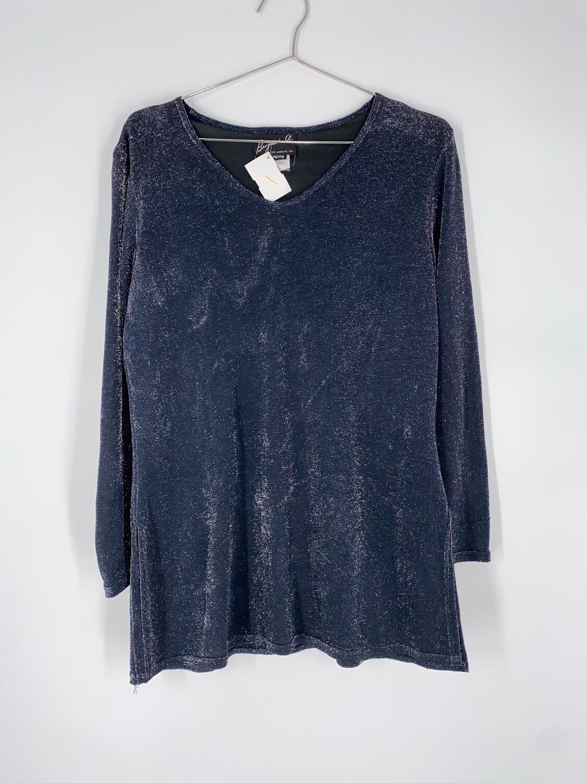 Benjamin A. Petite Grey-Blue Sparkly Top Size M