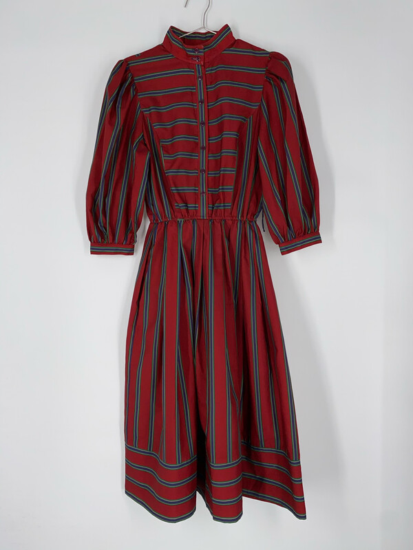 Joan Sparks For Daniel Barrett Red Striped Button Up Dress Size S