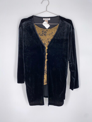 Impressions Black Velvet And Gold Layered Top Size M