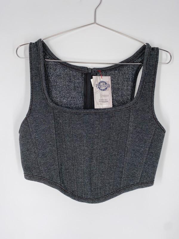 Dark Grey Reworked Sweatshirt Bustier size M/L