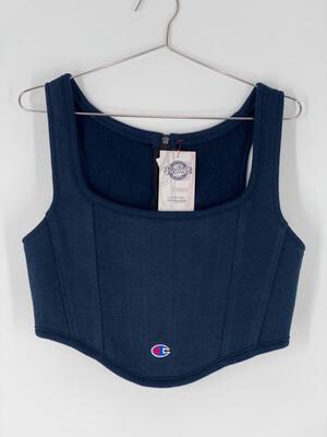 Dark Blue Champion Reworked Sweatshirt Bustier size M/L