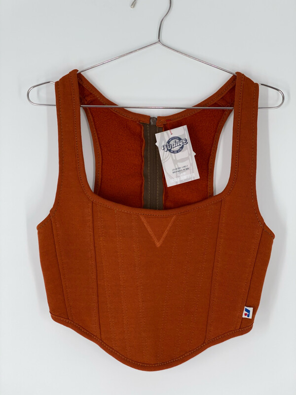 Burnt Orange Russell Reworked Sweatshirt Bustier Size S/M