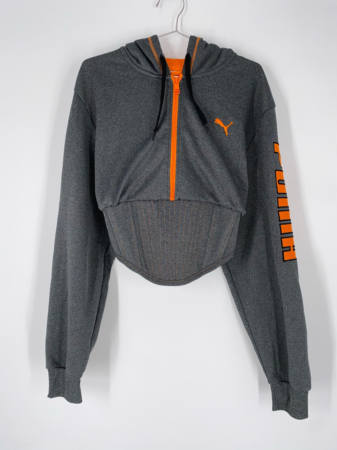Orange/Grey Puma Reworked Sweatshirt Corset