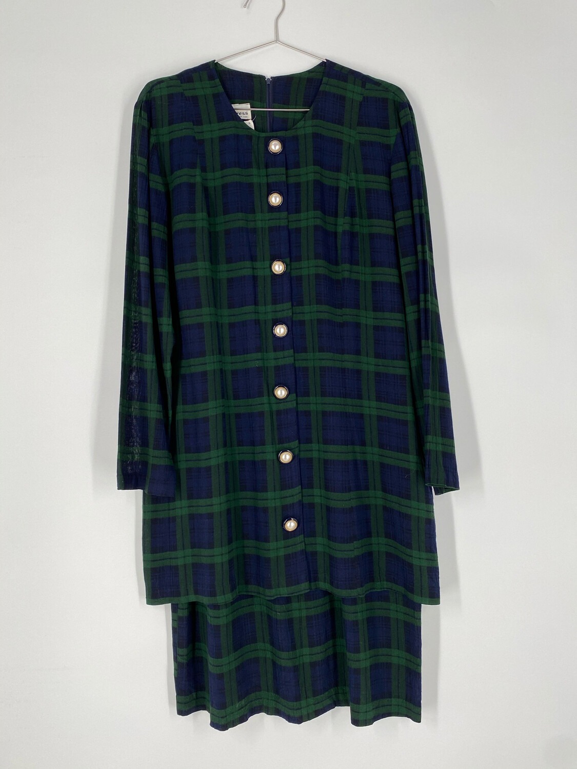 Ultra Dress New York Tartan Button-Up Dress With Attached Skirt Size L