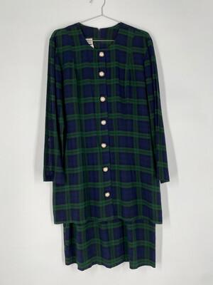 Ultra Dress New York Tartan Button-Up Dress With Attached Skirt Size L
