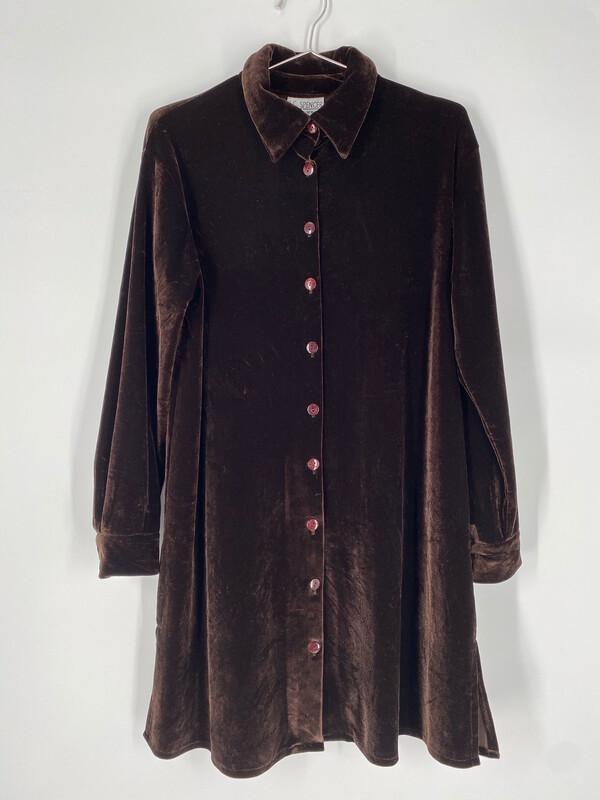K.C. Spencer New York Velvet Button-Up Dress Size S