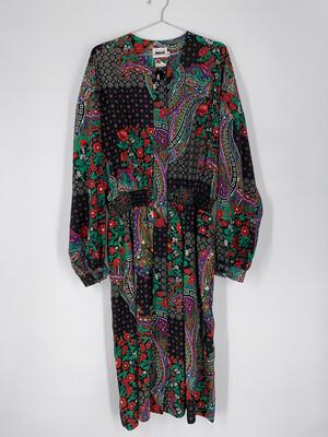 Leslie Fay Floral Long Sleeve Dress Size L