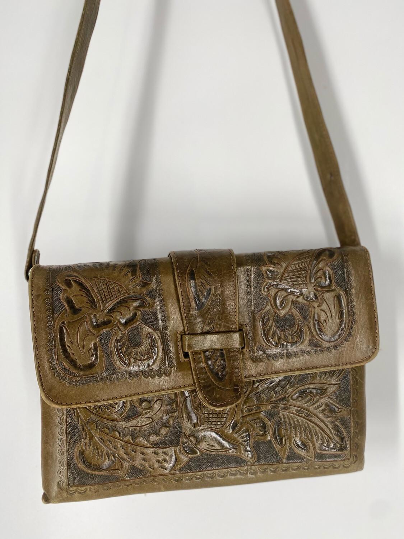 Avelar Olive Embossed Shoulder Bag