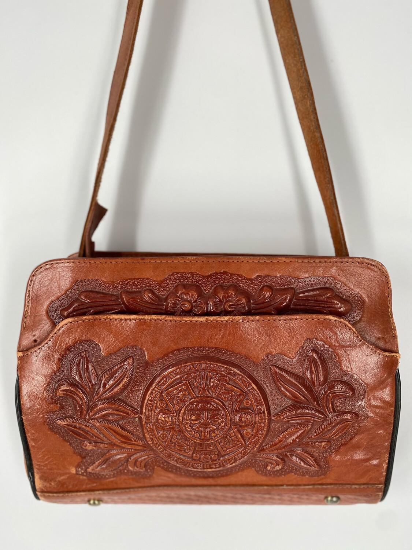 Brown Leather Embossed Shoulder Bag