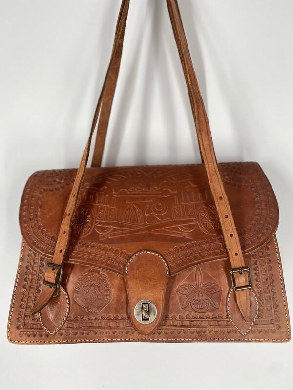 Vintage Embossed Brown Leather Shoulder Bag