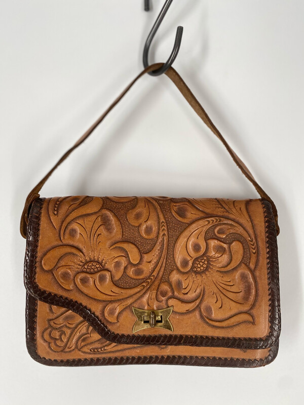 M.Castillo Mexico 100% Hand Tooled Leather Handle Bag