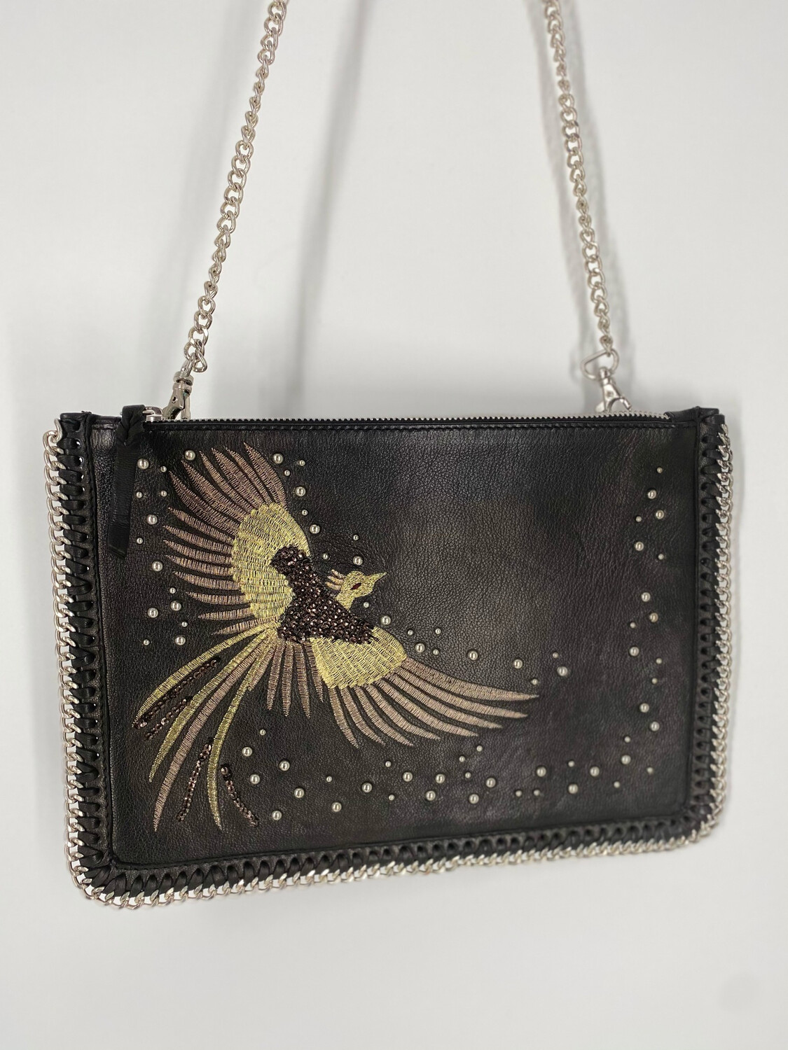 Leather Embroidered Chain Bag
