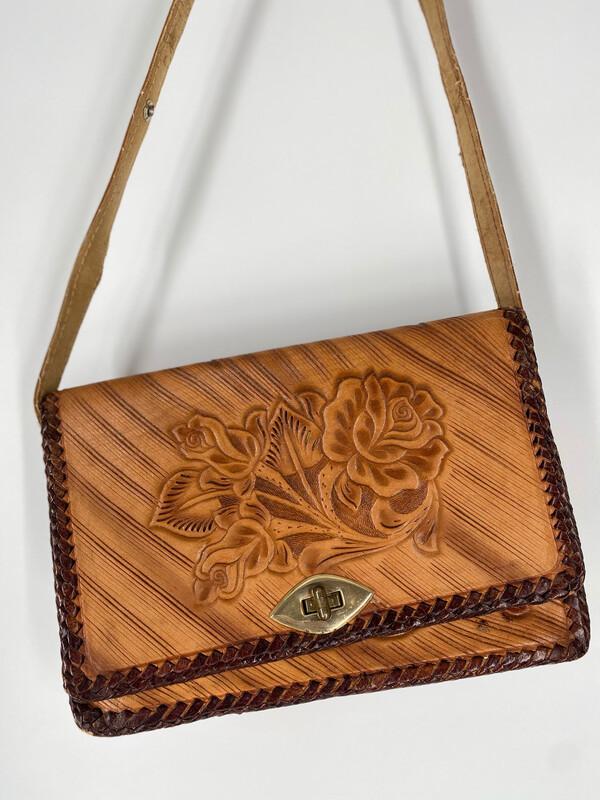 Vintage Floral Embossed Crossbody Bag