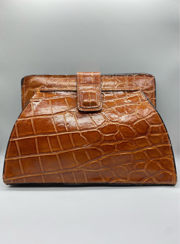 Faux Croc Leather Clutch