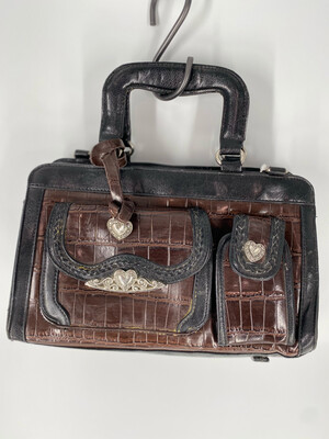 Brown Croc Leather Handle Bag