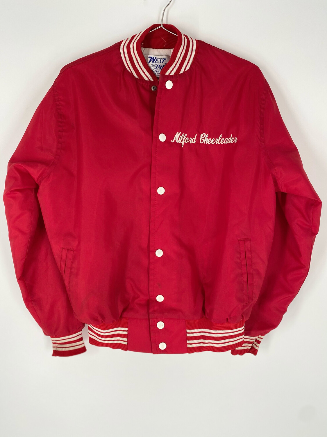 West Wind Red Embroidered Bomber Jacket Size Small