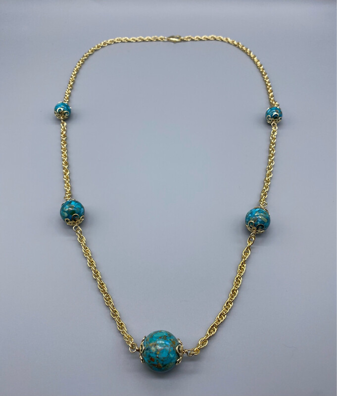 Gold Chain Necklace With Faux Turquoise Accents