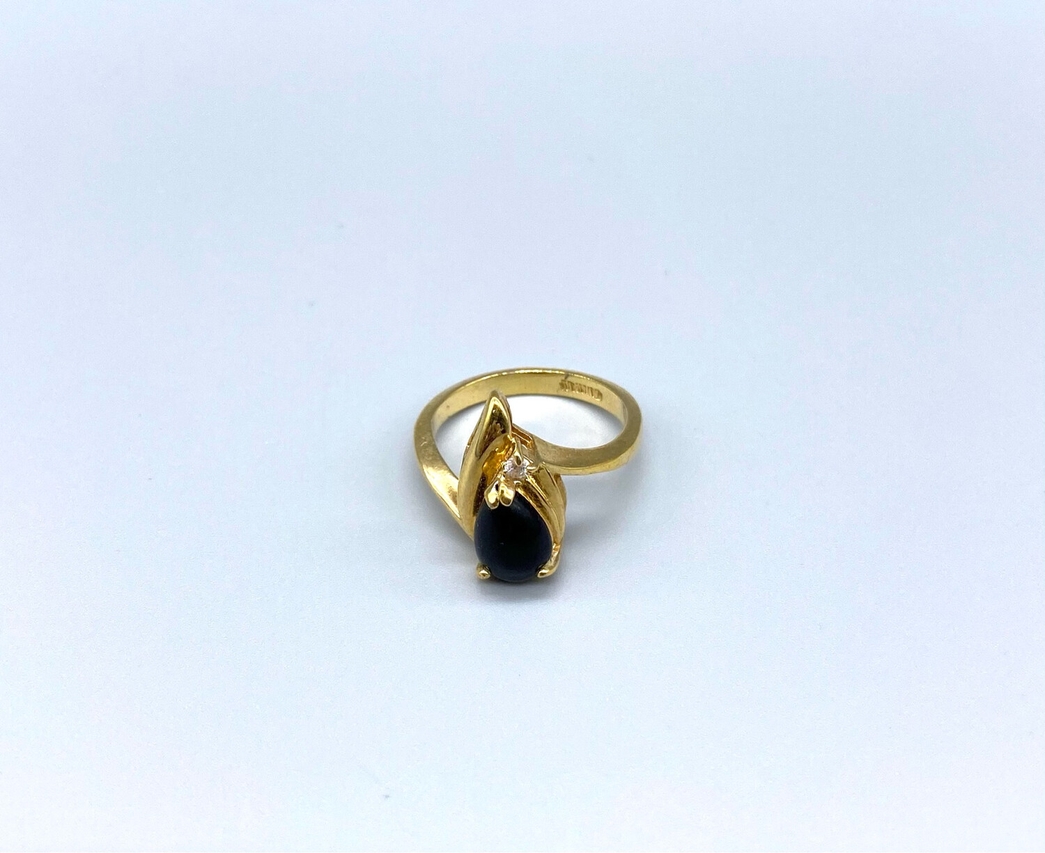 Gold Ring With Black Gemstone