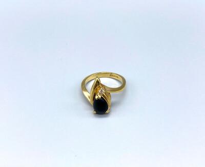 Gold Ring With Black Gemstone