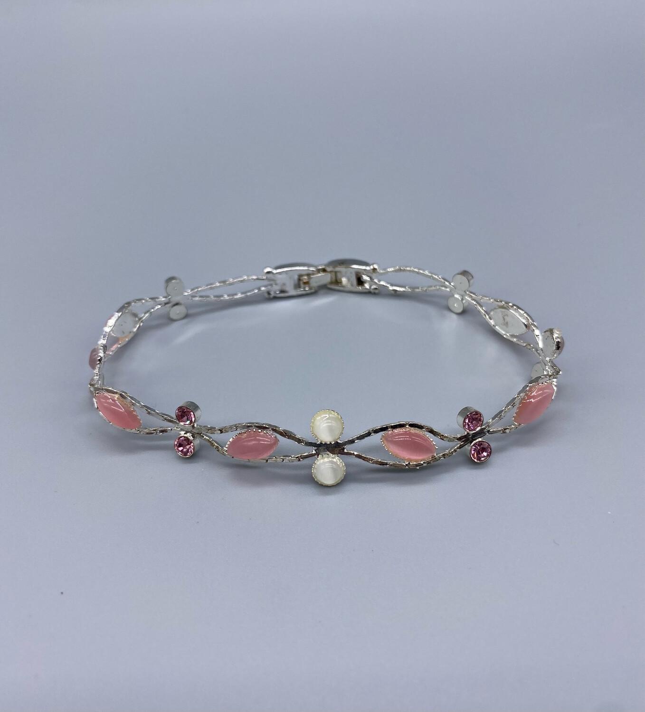 Silver Bracelet With Pink Gemstones
