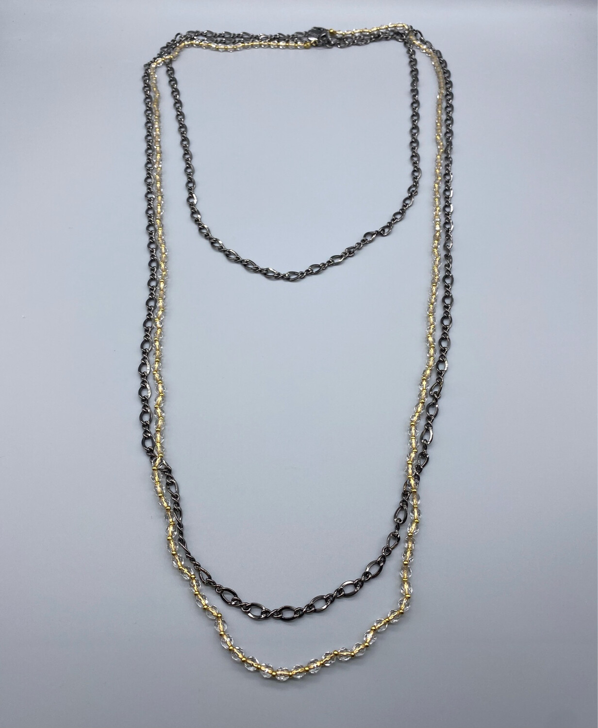 Gunmetal + Gold Dual Chain Necklace