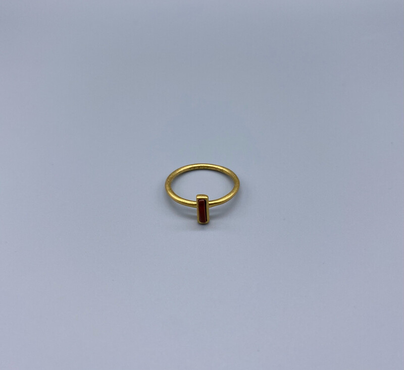 Minimal Gold Ring With Burnt Red Stone